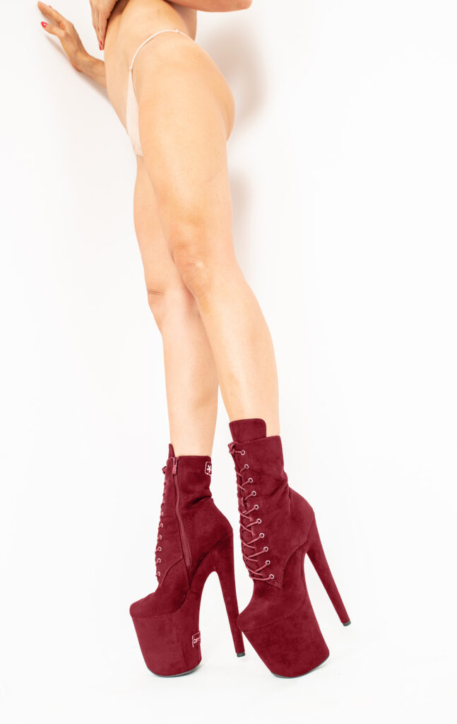 COSMOPOLE SUEDE ANKLE BOOTS BURGUNDY CLOSED TOES / 6""