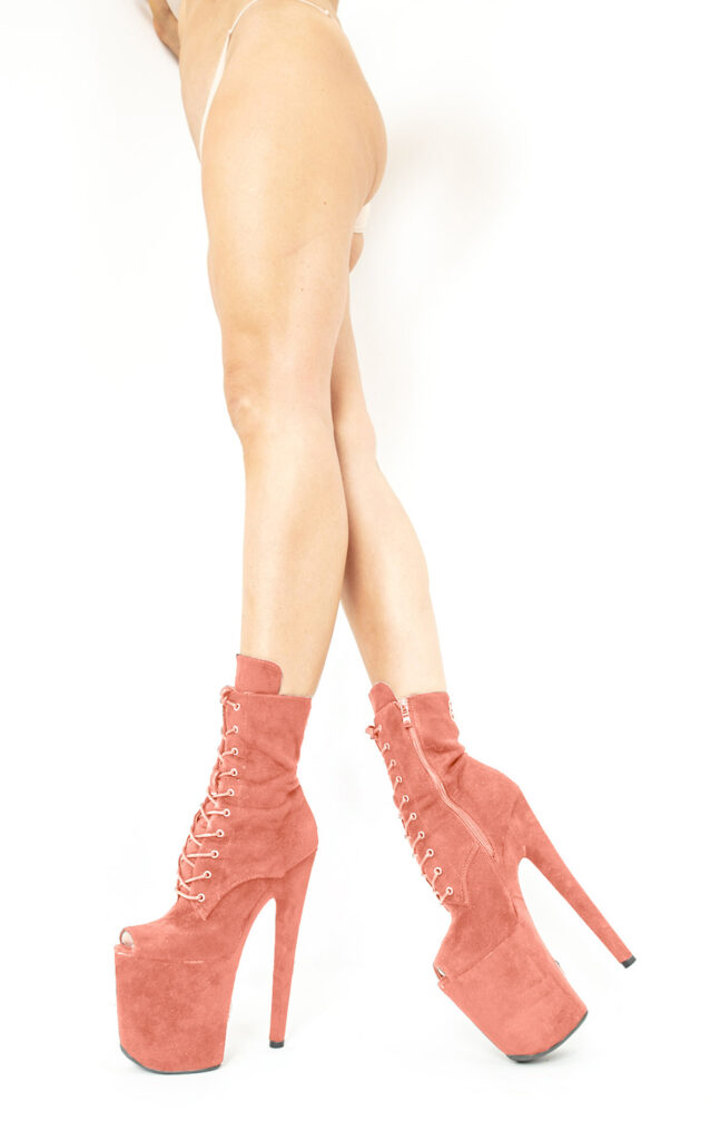 COSMOPOLE SUEDE ANKLE BOOTS CORAL OPEN TOES / 7""