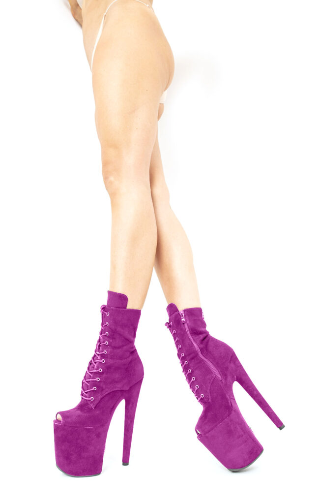 COSMOPOLE SUEDE ANKLE BOOTS PURPLE OPEN TOES / 8""