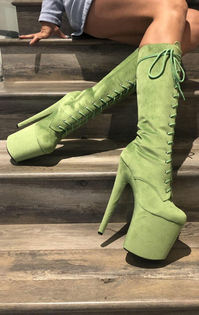 COSMOPOLE SUEDE MIDI BOOTS LIME GREEN CLOSED TOES / 8""