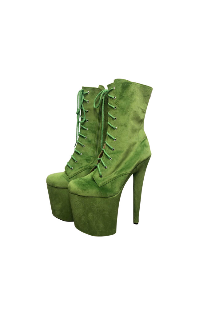 COSMOPOLE SUEDE ANKLE BOOTS LIME GREEN CLOSED TOES / 8""