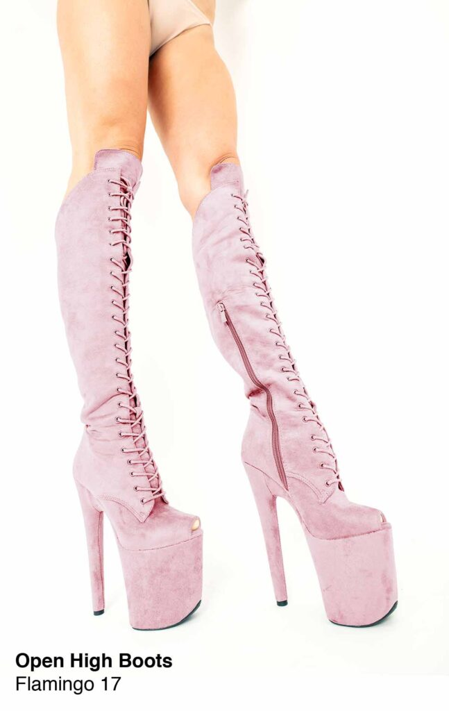 """COSMOPOLE SUEDE HIGH BOOTS FLAMINGO OPEN TOES/8"""""""
