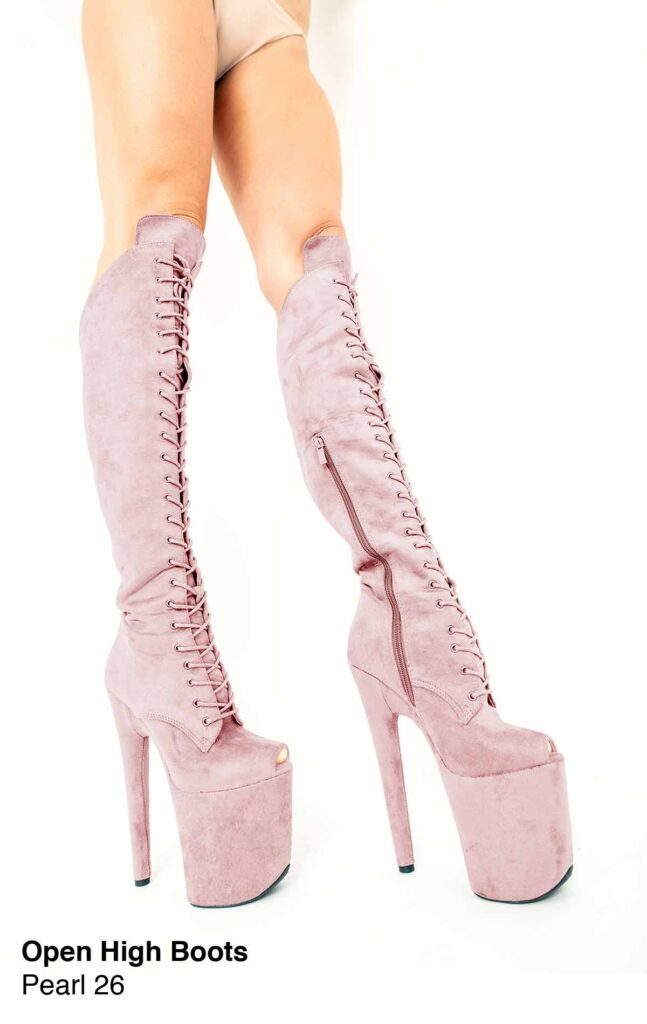 """COSMOPOLE SUEDE HIGH BOOTS PEARL OPEN TOES/8"""""""