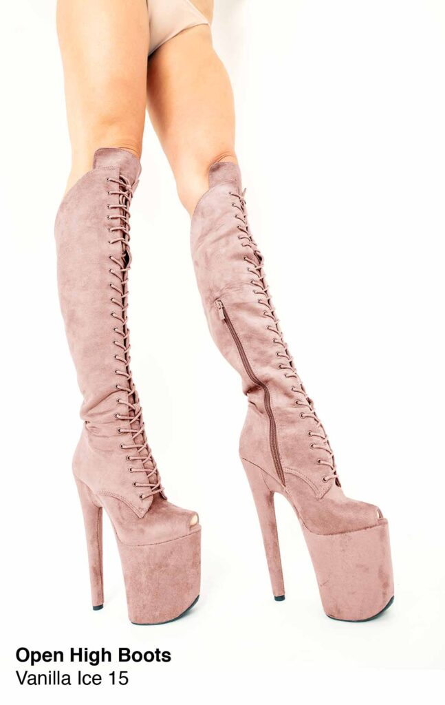 """COSMOPOLE SUEDE HIGH BOOTS VANILLA ICE OPEN TOES/8"""""""